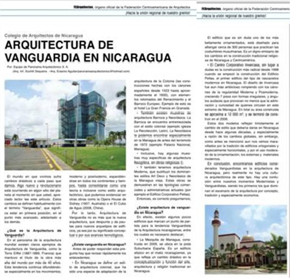 arquitectura de vanguardia en nicaragua art culo coan