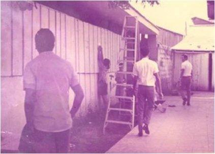 Primeras instalaciones de la carrera de arquitectura en la calle Colon de la vieja Managua, frente a la Escuela de Ingeniería Civil.
