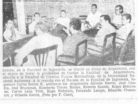 Arquitectos nacionales se reúnen con el Ing. Jose Santos Berroteran Decano de la Facultad de Ciencias Fisico Matematicas de la UNAN León para discutir la apertura de la carrera de arquitectura en abril de 1964.